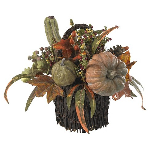Fall Pumpkin & Berry Table Arrangement - Nearly Natural - image 1 of 3