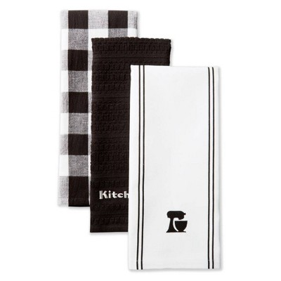 KitchenAid 3pk Mixer Kitchen Towels Black/White