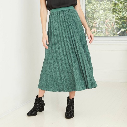 Women's Paisley Print A-Line Pleated Skirt - A New Day™ - image 1 of 4