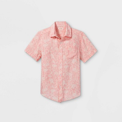 Boys' Challis Short Sleeve Button-Down Shirt - Cat & Jack™ Light Pink