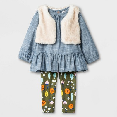 Baby Girls' Faux Fur Vest Top And Bottom Set - Cat & Jack™ Blue 6-9M