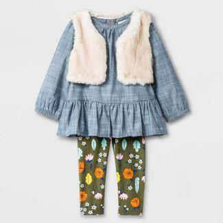 Baby Girls' Faux Fur Vest Top And Bottom Set - Cat & Jack™ Blue Newborn