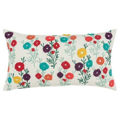 """14""""x26"""" Floral Pillow Cover Red - Rizzy Home"""