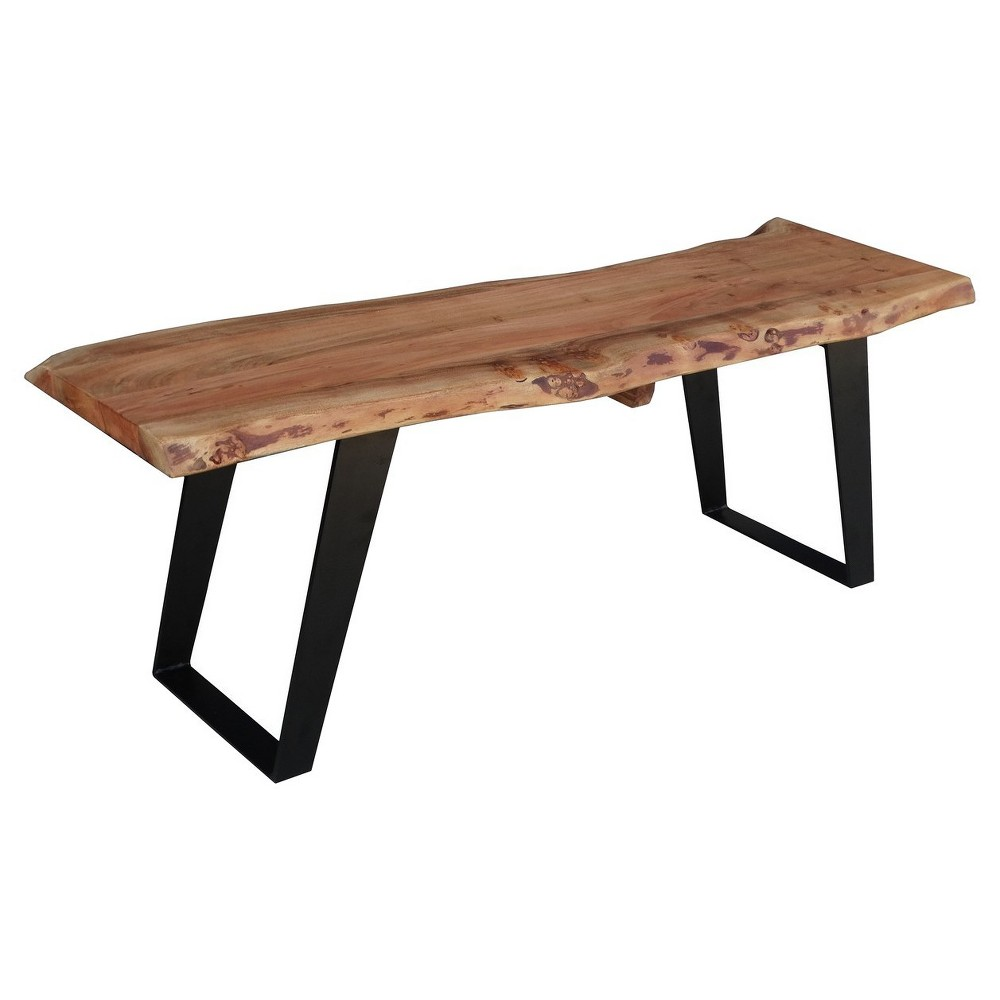 70 Solid Wood Live Edge Bench Brown - Timbergirl