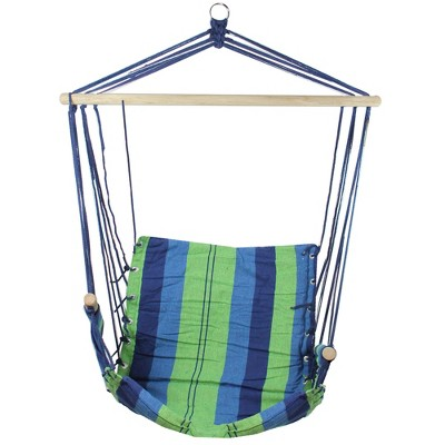 """Northlight 37"""" Green and Royal Blue Striped Outdoor Patio Hammock Chair with Armrests"""