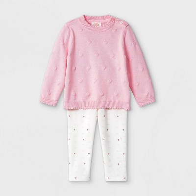 Baby Girls' Heart Bobble Sweater Top & Bottom Set - Cat & Jack™ Pink 3-6M