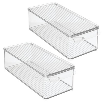 mDesign Plastic Kitchen Food Storage Bin, Lid for Pantry, Fridge, 2 Pack - Clear
