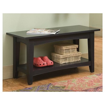 Shaker Cottage Bench with Shelf Charcoal Gray - Alaterre Furniture