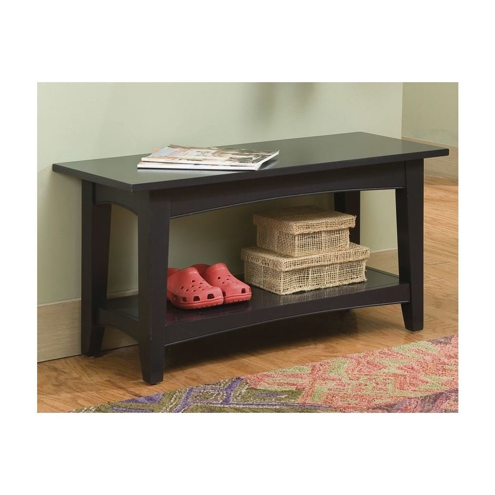 Shaker Cottage Bench with Shelf Charcoal Gray - Alaterre Furniture, Black