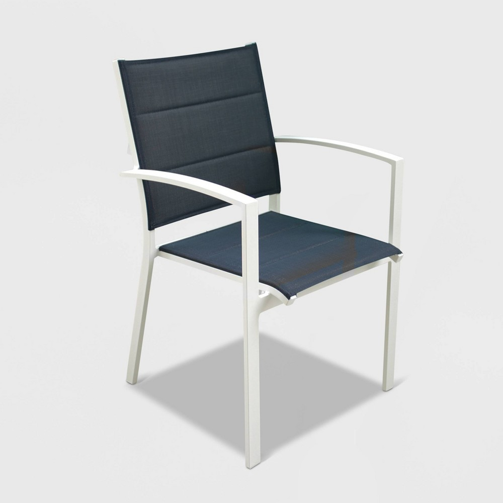 Image of 4pk Skyline Aluminum Outdoor Padded Dining Chair - White - Courtyard Casual