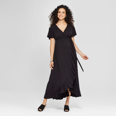 Maternity Short Sleeve Faux Wrap Belted Knit Dress - Isabel Maternity by Ingrid & Isabel™ Black - image 1 of 2