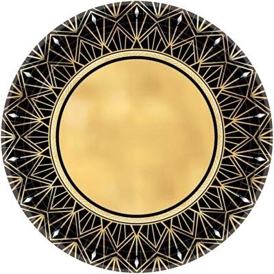 "7"" 8ct Glitz & Glam Metallic Dessert Plates Gold/Black"