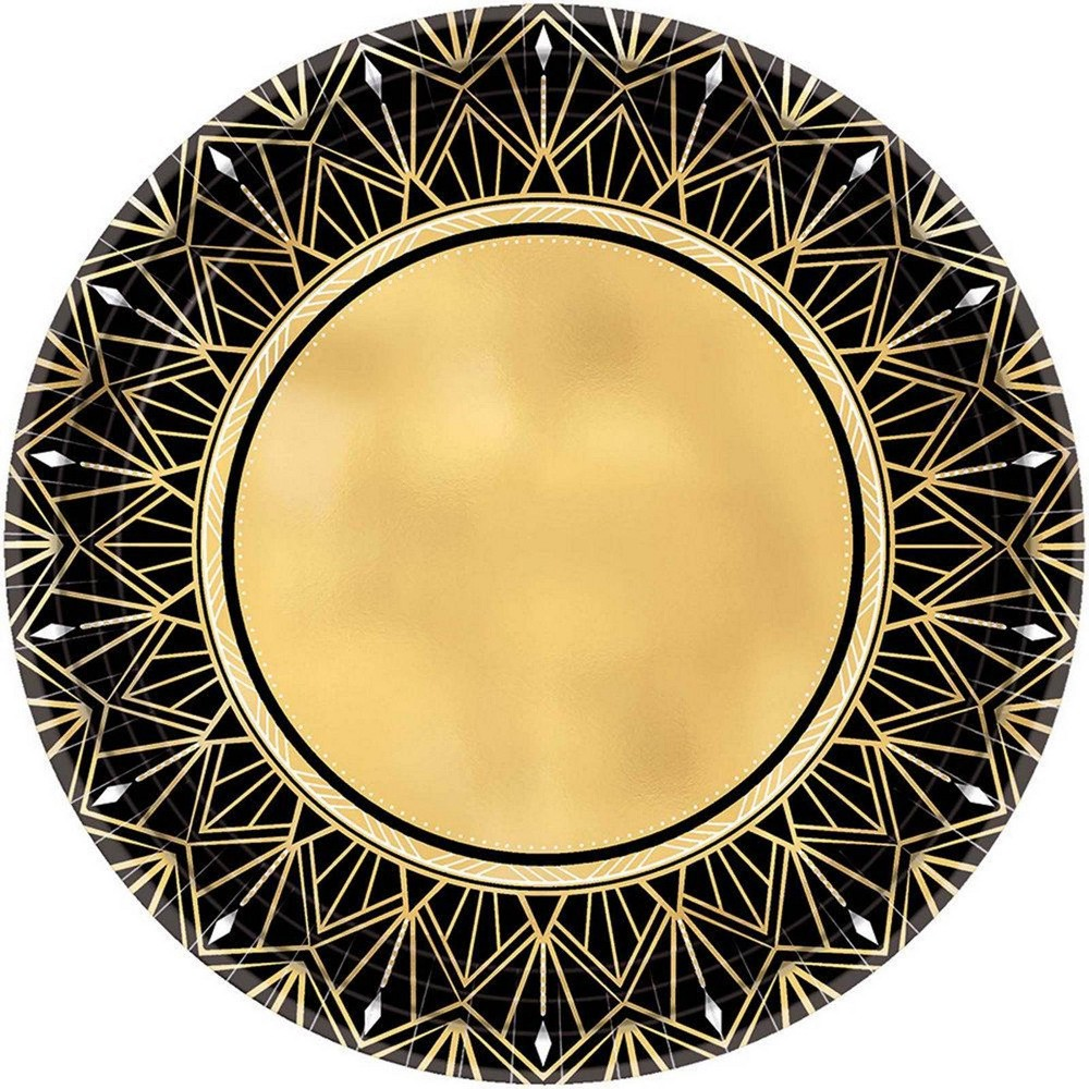 "Image of ""7"""" 8ct Glitz & Glam Metallic Dessert Plates Gold/Black"""