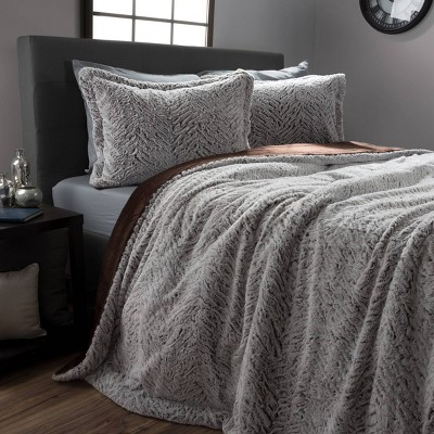 King 3pc Mink Faux Fur Comforter Set - Hastings Home