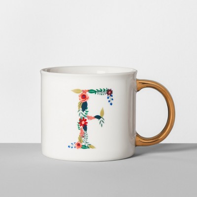 Monogrammed Porcelain Floral Mug F 16oz White/Gold - Opalhouse™