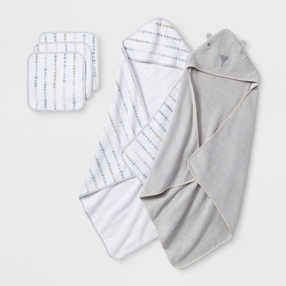 Image of Baby Bear Towel and Washcloth Set - Cloud Island Gray One Size
