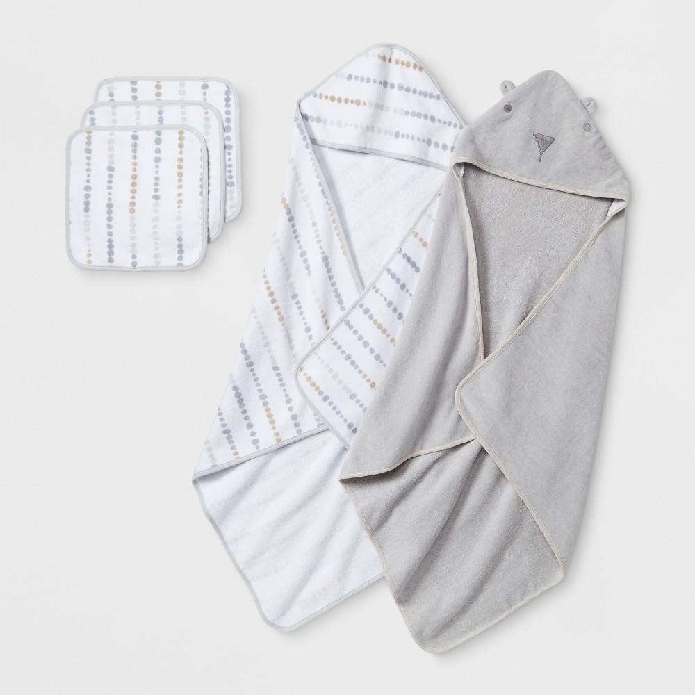 Baby Bear Towel and Washcloth Set - Cloud Island Gray One Size
