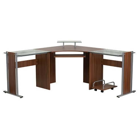 Laminate Corner Desk With Pull Out Keyboard Tray And Cpu Cart Teakwood Top Silver Frame Riverstone Furniture Collection