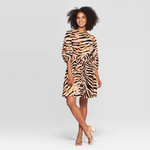 Women's Tiger Print 3/4 Sleeve Crewneck Seamed A Line Mini Dress - Who What Wear™ Brown - image 1 of 3