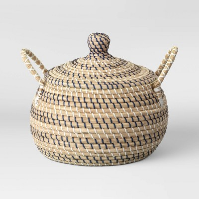 """14"""" x 14"""" Round Lidded Basket with Handles Striped - Opalhouse™"""
