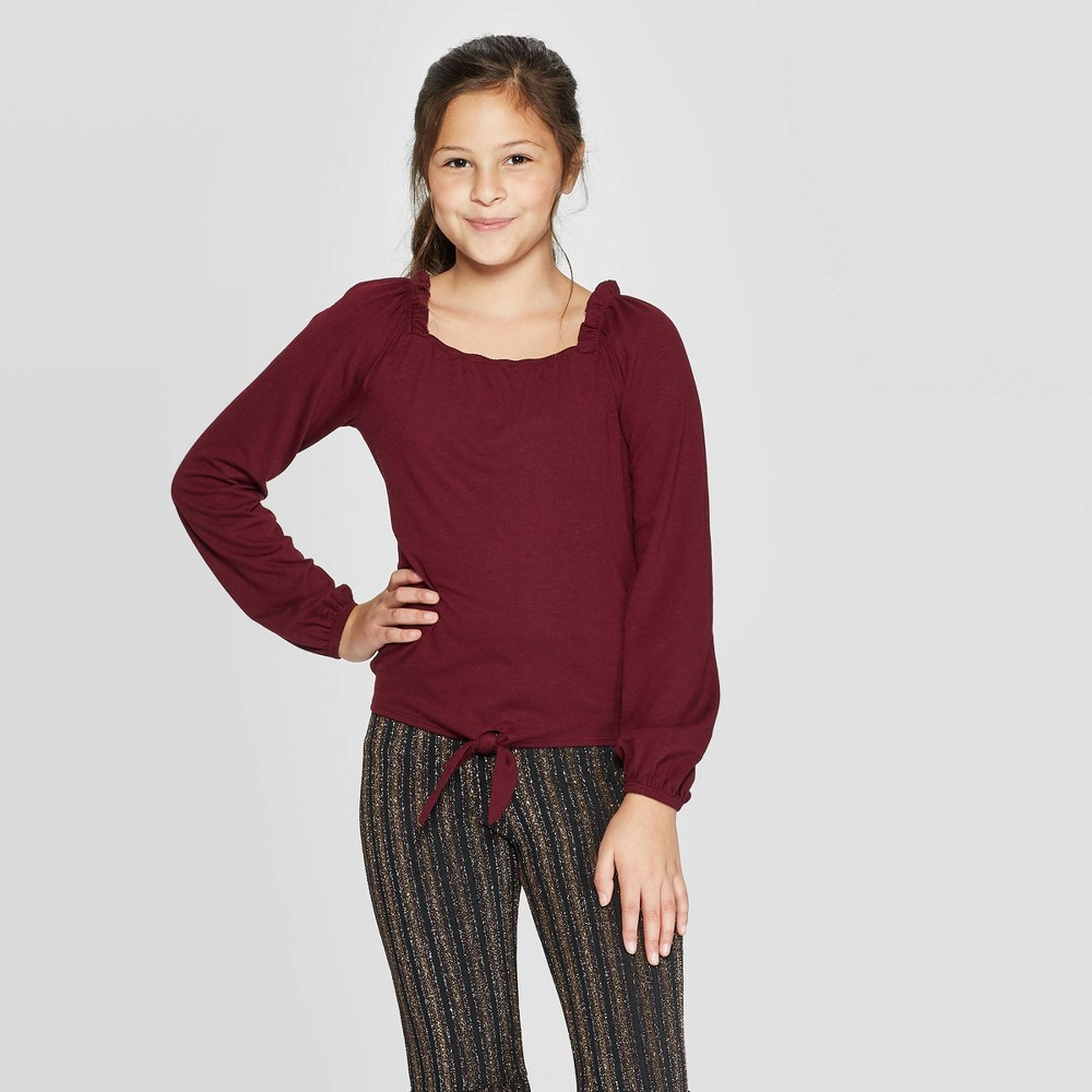 Image of Girls' Long Sleeve Square Neck Tie Top - art class Burgundy L, Girl's, Size: Large, Purple