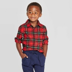 Toddler Boys' Long Sleeve Plaid Woven Shirt - Cat & Jack™ Red
