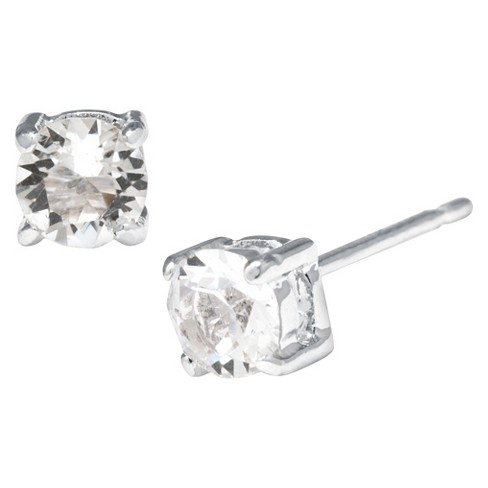 39f8a185d9b3c Silver Plated Brass Clear Stud Earrings with Crystals from Swarovski (4mm)