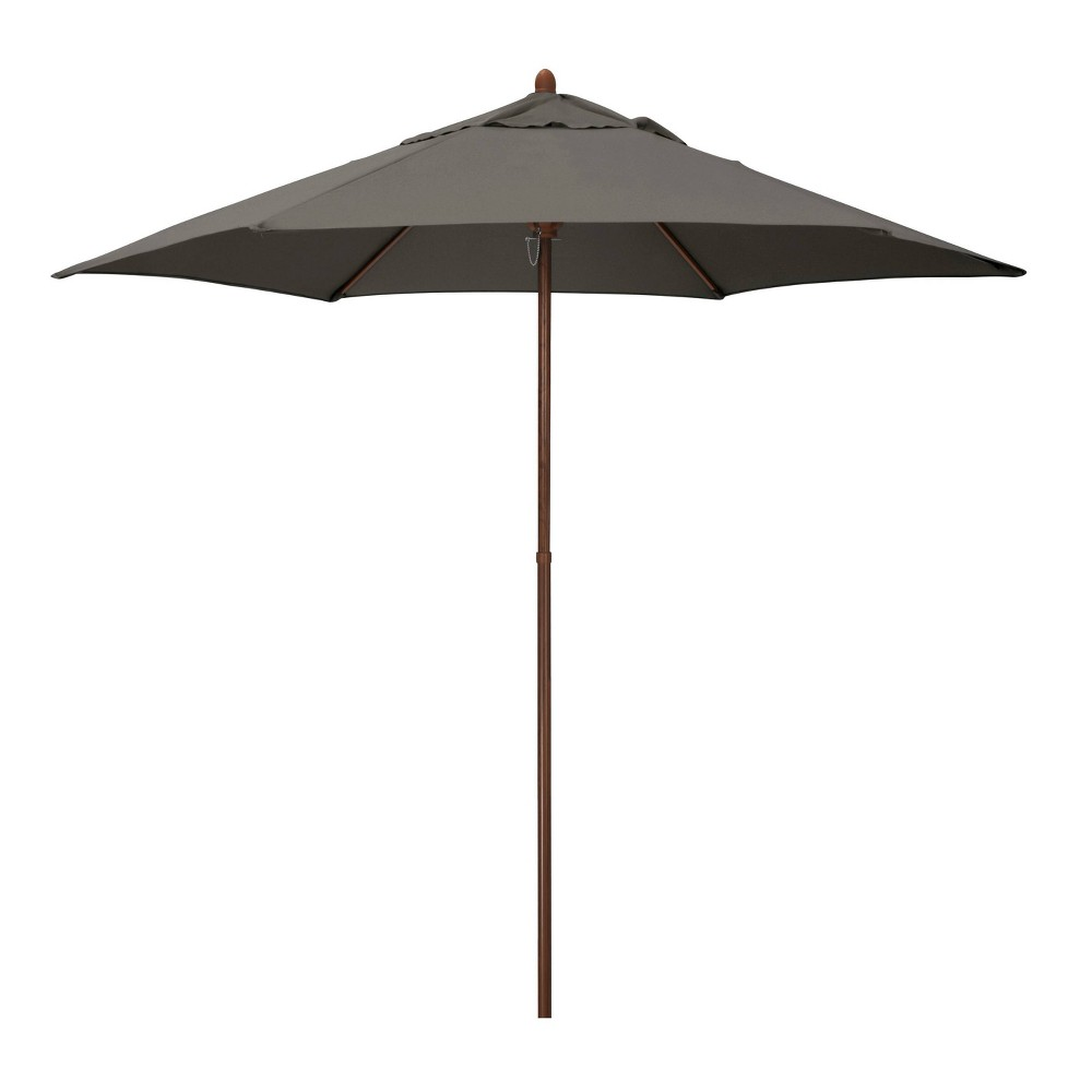 9 39 X 9 39 Round Wood Grain Steel Patio Umbrella Taupe Astella
