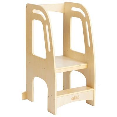 ECR4Kids Kitchen Helper Tower - Adjustable Kids Stool with Safety Rails, Natural