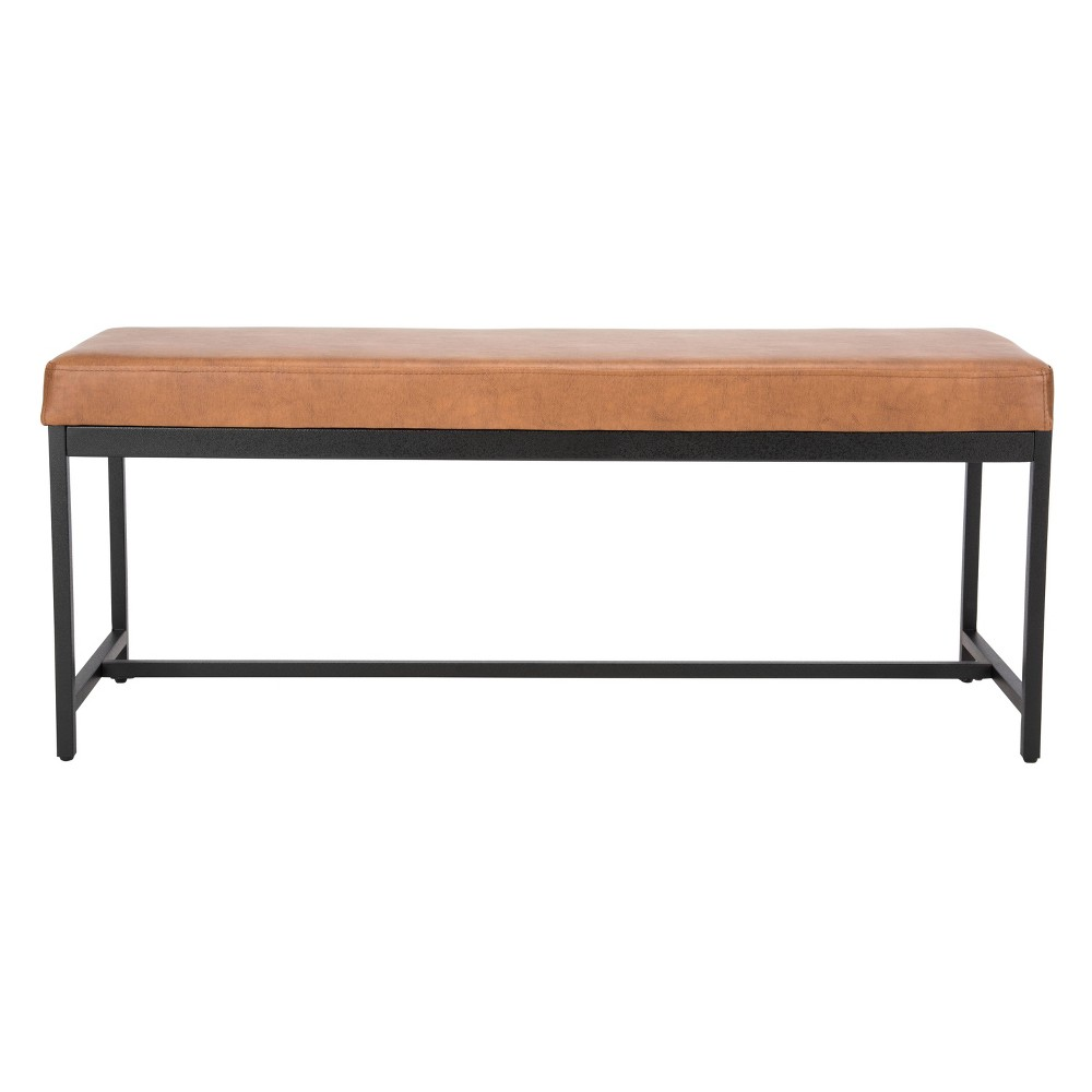 Chase Faux Leather Bench Brown - Safavieh