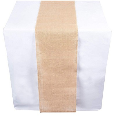 Genie Crafts Brown Burlap Jute Linen Fabric Dining Table Runner Roll, 360 Inches Long x 12 in