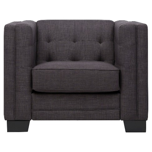Flatiron Tufted Arm Chair Charcoal - Inspire Q - image 1 of 6
