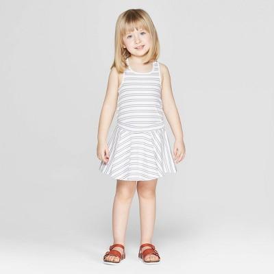 Mila & Emma Toddler Girls' Striped Circle Skirt - White 12M