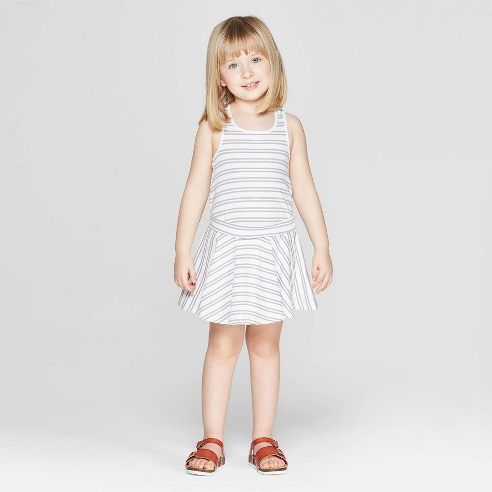 Image of Mila & Emma Toddler Girls' Striped Circle Skirt - White 3T, Girl's