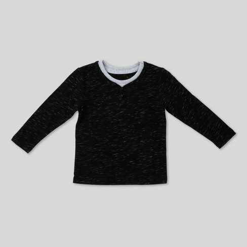 Toddler Boys' Afton Street Long Sleeve Henley - Black - image 1 of 2