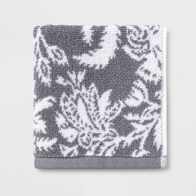 Performance Floral Washcloth Dark Gray Floral - Threshold™