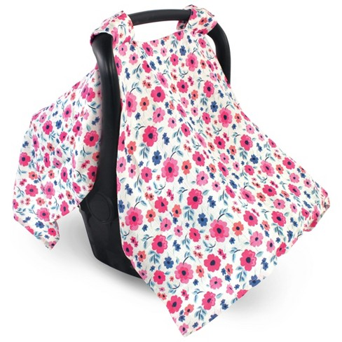 Touched by Nature Baby Girl Organic Muslin Car Seat Canopy, Garden Floral, One Size - image 1 of 1
