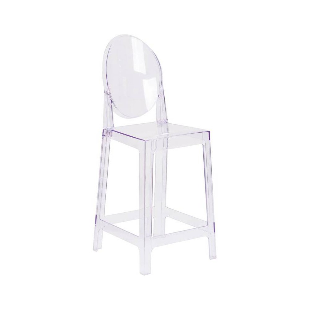 Image of Ghost Counter Stool with Oval Back Clear - Riverstone Furniture Collection