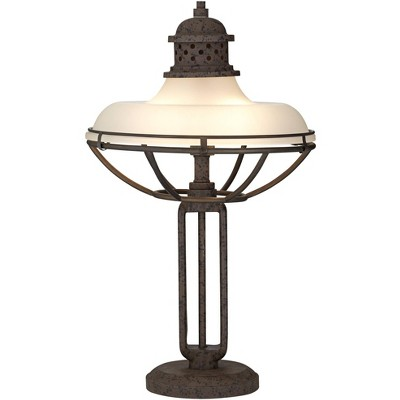 Franklin Iron Works Rustic Industrial Table Lamp Open Cage Rust Bronze Half Dome Glass Shade for Living Room Bedroom Nightstand