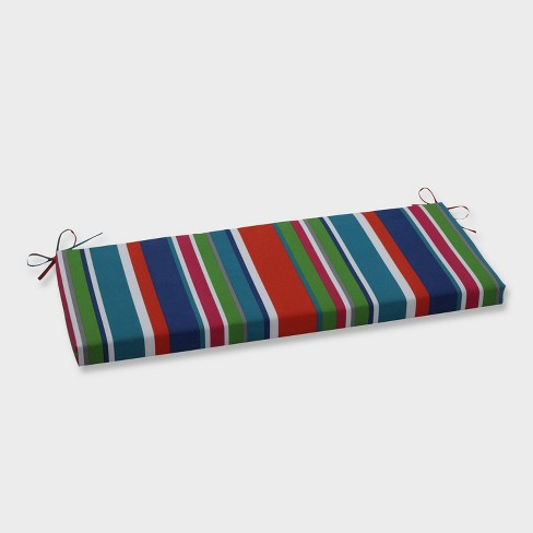 St. Lucia Stripe Outdoor Bench Cushion Blue - Pillow Perfect - image 1 of 1
