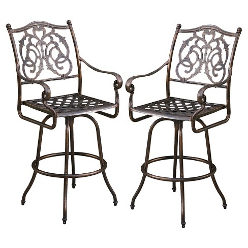 Super Casselberry Set Of 2 Cast Aluminum Patio Bar Stools Shiny Copper Christopher Knight Home Squirreltailoven Fun Painted Chair Ideas Images Squirreltailovenorg