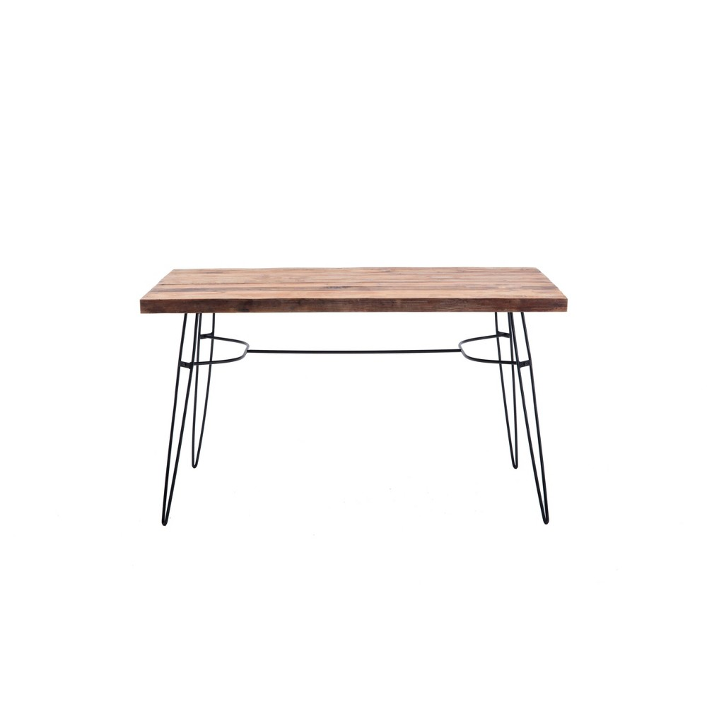 54 Lantana Reclaimed Wood Dining Table/Desk Brown/Black - Summerland Home