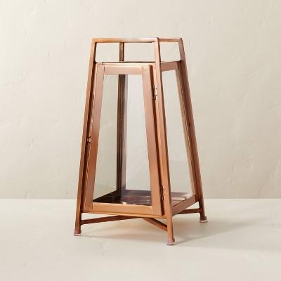 Raised Metal & Glass Pillar Candle Lantern Copper - Hearth & Hand™ with Magnolia