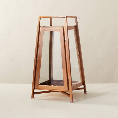 Raised Metal & Glass Pillar Candle Lantern Copper - Hearth & Hand™ with Magnolia - image 1 of 4