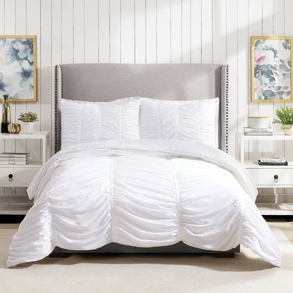 Image of Modern Heirloom Emily Texture Full/Queen Emily Texture Comforter Set White