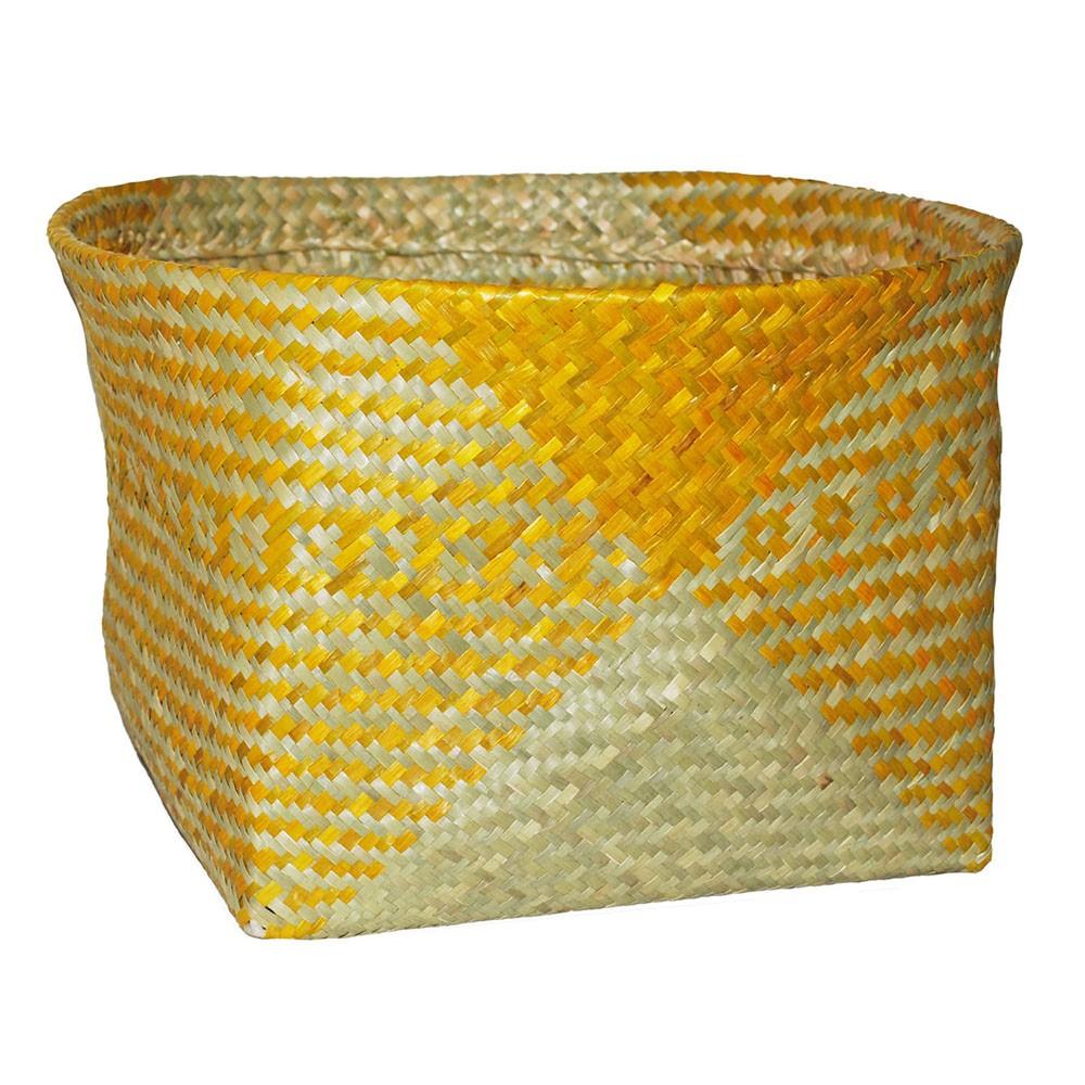 "Image of ""10.83""""x17.7"""" Decorative Palm Leaf Basket Yellow - Opalhouse"""