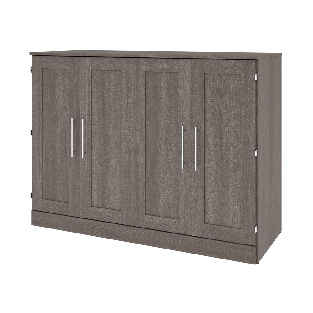 Image of Full Cabinet Bed with Mattress Bark Gray - Bestar, Brown Gray