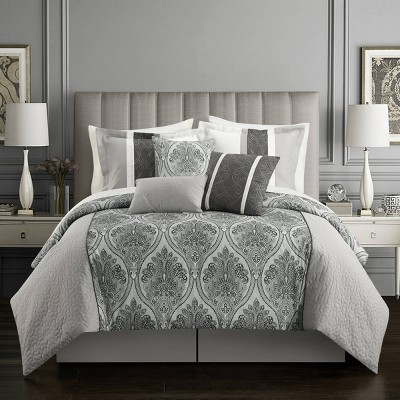 Queen 11pc Roxette Bed In A Bag Comforter Set Gray - Chic Home Design