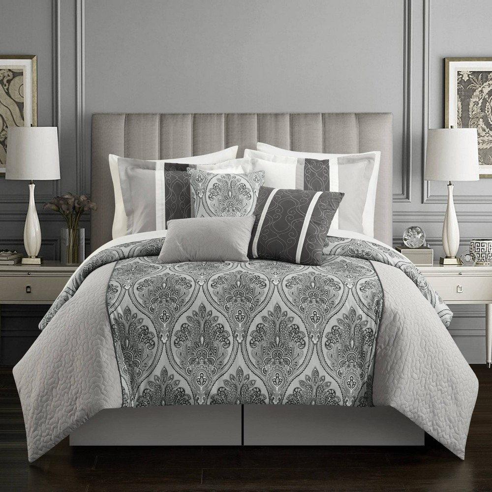 Queen 11pc Roxette Bed In A Bag Comforter Set Gray Chic Home Design