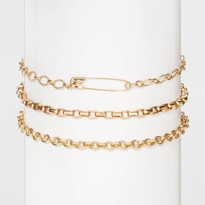 Gold-Tone Safety Pin and Chain Choker Set 3pc - Wild Fable™ Gold